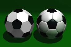 Слева — усечённый икосаэдр, справа – футбольный мяч обыкновенный.